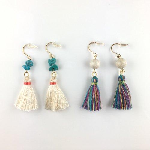 Tassel stone pierce/earring