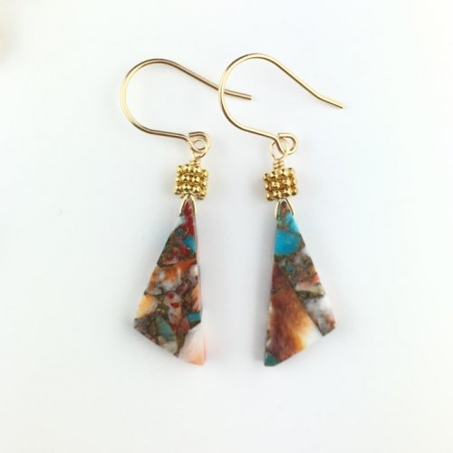 Oyster Copper Turquoise triangle pierce