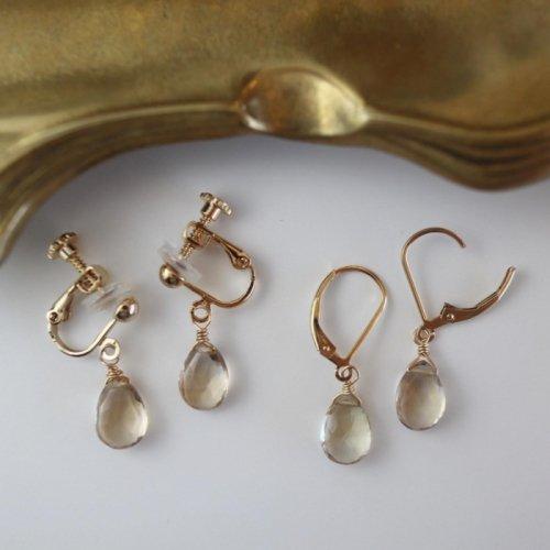 Champagne color quartz French hook pierce