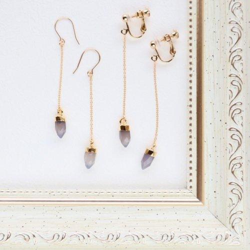 Gray onyx charm long earring