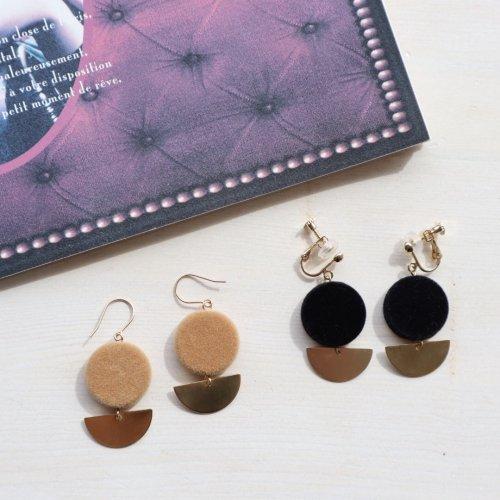 Flocky round pierce/earring