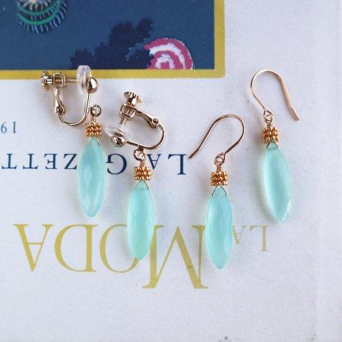 Sea Blue chalcedony Pierce/Earring