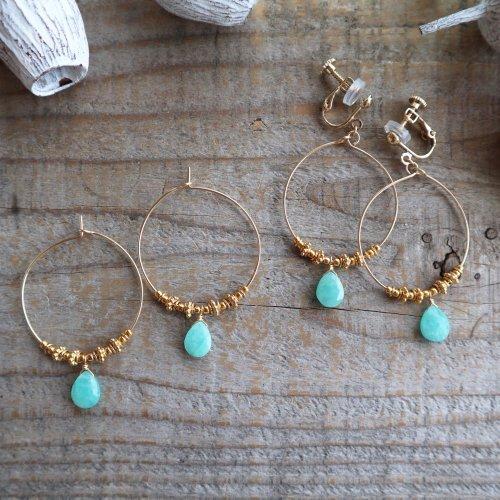 Amazonite pear shape hoop pierce/earring