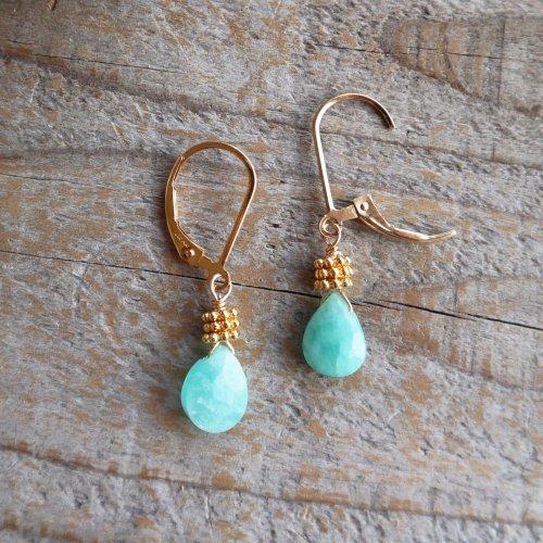 Amazonite pear shape French hook pierce (earring交換可)