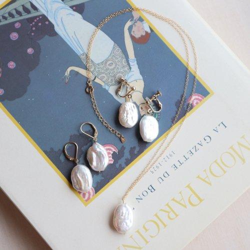 Fresh water pearl oval  pierce/earring