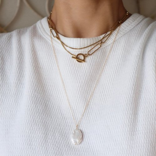 Fresh water pearl oval necklace