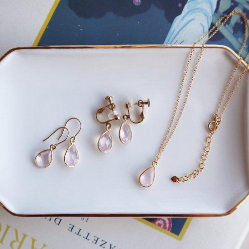 Rose quartz charm pierce/earring