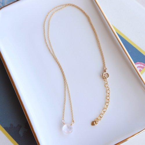 Birth stone necklace Rosequartz(10月)