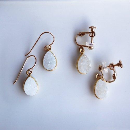Druzy  pear shape pierce/earring