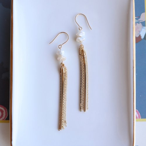 Chain tassel pierce/earring