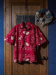 オープンカラーシャツS/S バンダナ柄 レッド(3L〜6L)