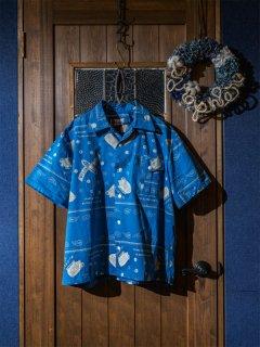 オープンカラーシャツS/S バンダナ柄 ブルー(3L〜6L)