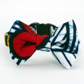 アフリカンバティックの猫首輪  ginkgo ※リボンの付け外し可能