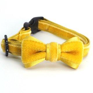 ベルベットの猫首輪 リボン付き ライムイエロー