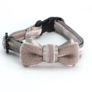 ベルベットの猫首輪 リボン付き アッシュグレー