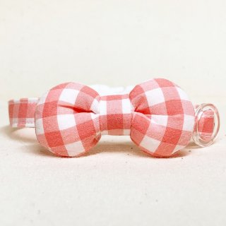 ギンガムチェック まるリボンの猫首輪 コーラルピンク