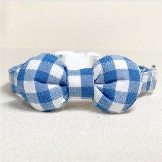 ギンガムチェック まるリボンの猫首輪 ブルー