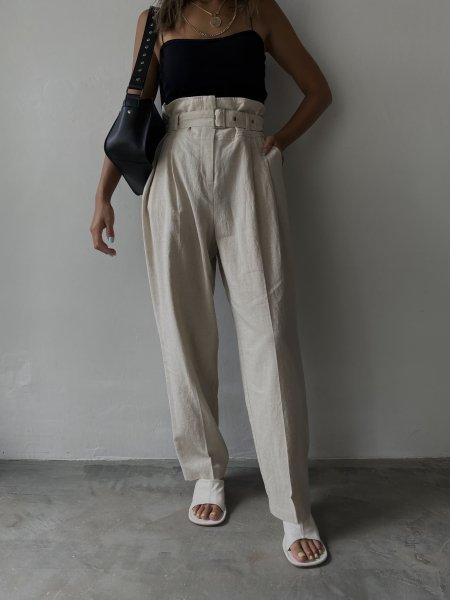 <img class='new_mark_img1' src='https://img.shop-pro.jp/img/new/icons6.gif' style='border:none;display:inline;margin:0px;padding:0px;width:auto;' />《予約販売》waist belt design linen pants
