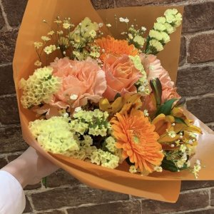 【生花  花束】本日のブーケ/オレンジ系