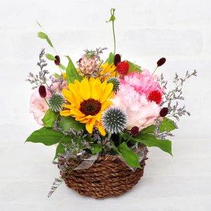 """【生花】 """"Flowers Go To"""" アレンジメント(ヒマワリ&トルコキキョウ)"""