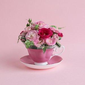 Tea cup bouquet _ピンクフラン【生花】