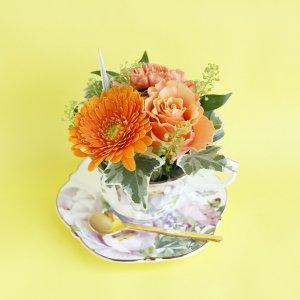 Tea cup bouquet _プラムローズ【生花】
