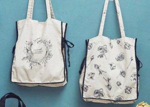 モノトーン花柄トートバッグ