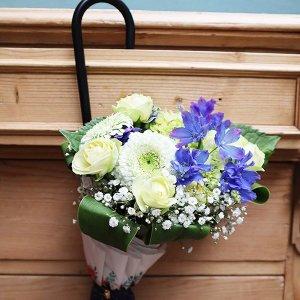 Umbrella Bouquet|ローズドット柄(ネイビー)【季節のお花】