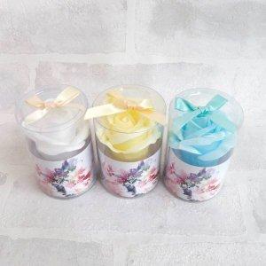 【手洗い石鹸ソープフラワー】シャボンローズ1輪 3個セット ブルー系