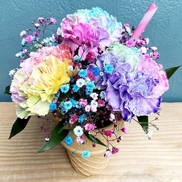 ICECREAM BOUQUET | tropical rainbow【生花 レインボーカーネーション】