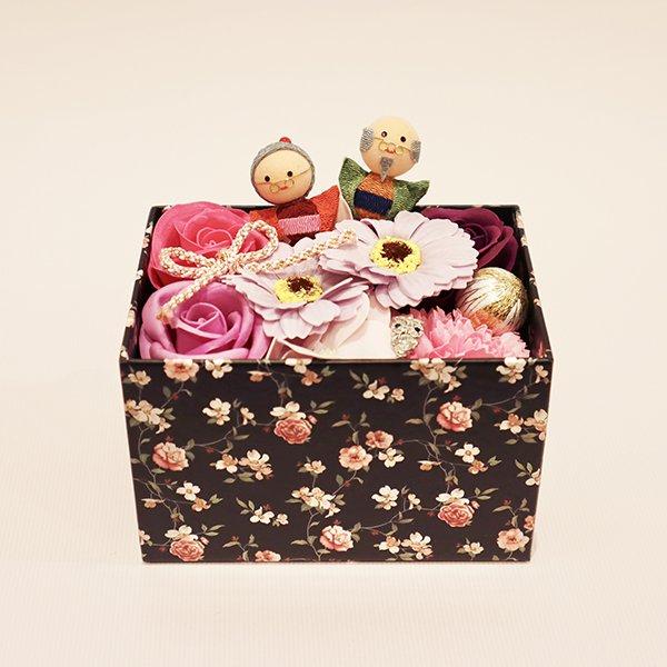 【ソープフラワー:emi】敬老の日ソープフラワー BOX(ラベンダーピンク)可愛いおじいちゃんおばあちゃんピック付き