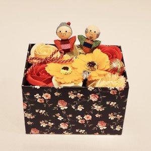 【ソープフラワー:emi】敬老の日ソープフラワー BOX(オレンジ)可愛いおじいちゃんおばあちゃんピック付き