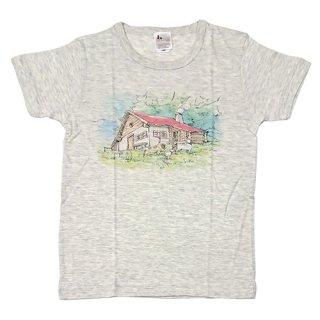 大人半袖Tシャツ アルムの山小屋柄 オートミール (XSサイズ)