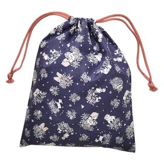 巾着袋 ( M )  ハイジ&ローズ柄 ロイヤルブルー