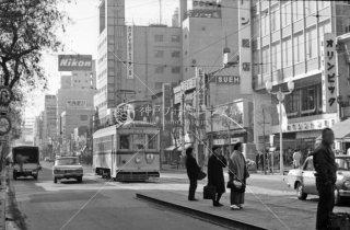 都電 銀座四丁目停留所4系統 五反田行1036 1966年1月