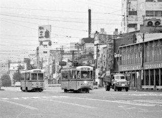 都電 四谷三光町停留所 左12系統 右13系統 1967年6月