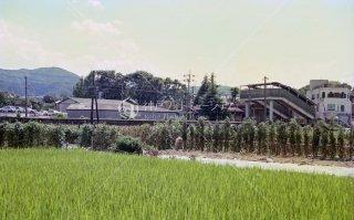 山陰本線 馬堀駅遠望 旧駅舎 移転廃止後 亀岡 平成2,1990