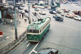 大阪市営トロリーバス 阪急百貨店前 無軌条電車 1960年代