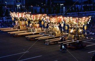 海神社秋祭 4地区布団太鼓夜練り合わせ 垂水漁港前 平成28