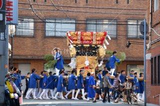 海神社秋祭 西垂水布団太鼓巡行 サンライズ通 但馬銀行前 平成29
