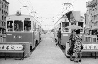 南海電鉄 和歌山軌道線 和歌山駅前停留所 左1006 右203 1970年6月