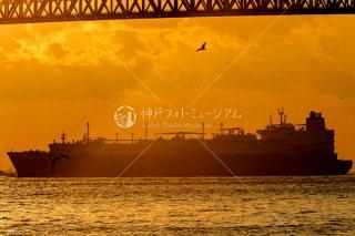 夕日と大型船AMANI 明石海峡大橋