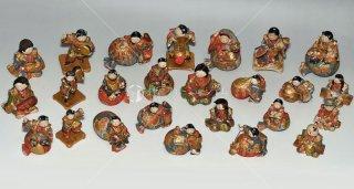 童と獅子舞 猫 猿 太鼓 江戸後期小型飾り人形