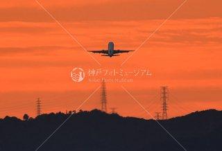夕景と飛行機