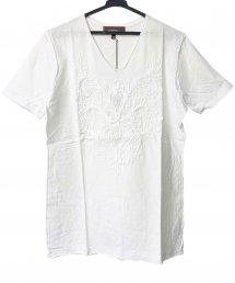 Bennu(ベンヌ)刺繍カットオフVネックTシャツ / ホワイト