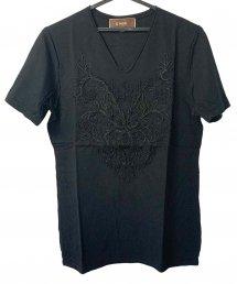 Bennu(ベンヌ)刺繍カットオフVネックTシャツ / ブラック