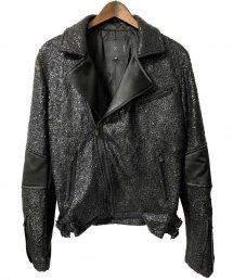 ys Yuji SUGENO (イース ユウジ スゲノ)Black Foil Tweed Double Riders Jacket