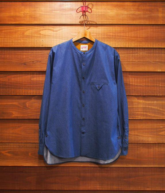 GERUGA/NO COLLAR SHIRTS / LIGHT-OZ DENIM
