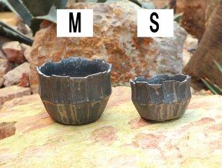 雷釉面取り鉢(銀色)