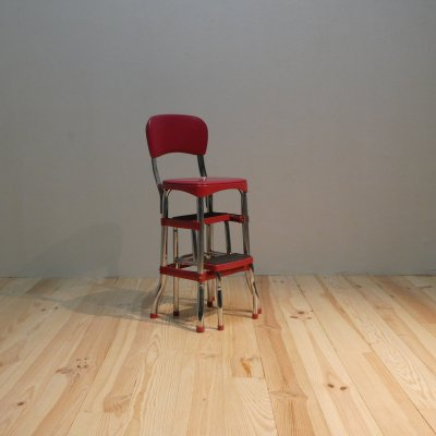 Vintage Retro Chair + Step Stool with sliding steps / Cosco